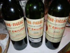 A trio of Château Figeac from a dinner in Washington D.C.