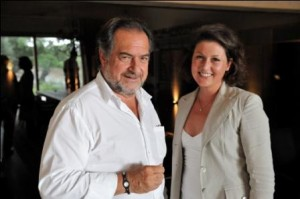 Michel Rolland with Olympia Romba at the winery