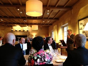 Owner Robert Wilmers addressing assembled diners at Château Haut Bailly in June 2013