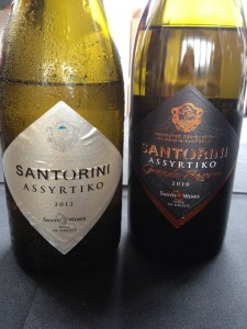 "When ""grand"" is not the better choice: I much prefer the non oaked Assyrtiko, at left."