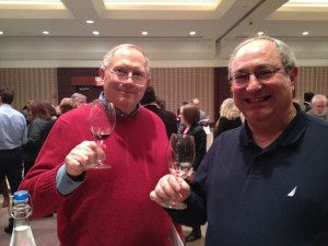 Washington D.C. based tasting friends Randy McFarlane (left) and Howard Cooper, assessing Bordeaux 2011 from bottle