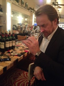Laurent Dufau sampling some of the wines before the dinner